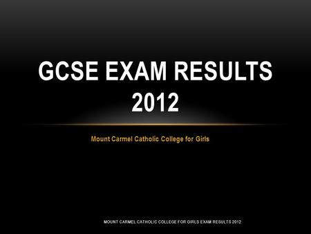 Mount Carmel Catholic College for Girls GCSE EXAM RESULTS 2012 MOUNT CARMEL CATHOLIC COLLEGE FOR GIRLS EXAM RESULTS 2012.