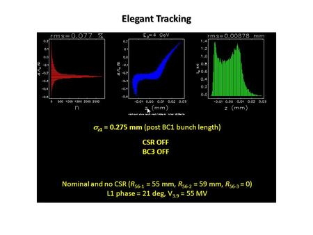 Nominal and no CSR (R 56-1 = 55 mm, R 56-2 = 59 mm, R 56-3 = 0) L1 phase = 21 deg, V 3.9 = 55 MV CSR OFF BC3 OFF Elegant Tracking  z1 = 0.275 mm (post.