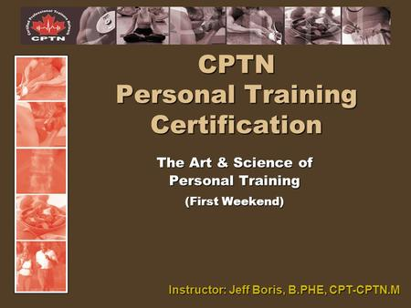 CPTN Personal <strong>Training</strong> Certification