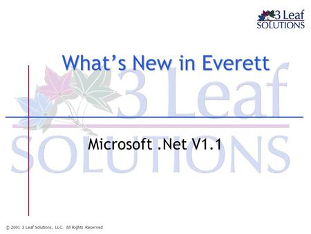 © 2001 3 Leaf Solutions, LLC. All Rights Reserved What's New in Everett Microsoft.Net V1.1.