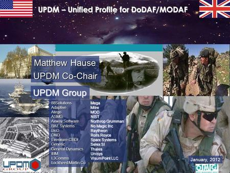 January, 2012 UPDM – Unified Profile for DoDAF/MODAF 88Solutions Adaptive Atego ASMG Axway Software BAE Systems DoD DND Everware-CBDI Generic General Dynamics.