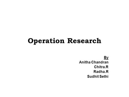 Operation Research By Anitha Chandran Chitra.R Radha.R Sudhit Sethi.