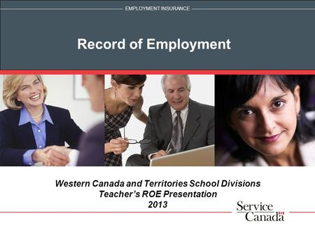 Record of Employment Western Canada and Territories School Divisions