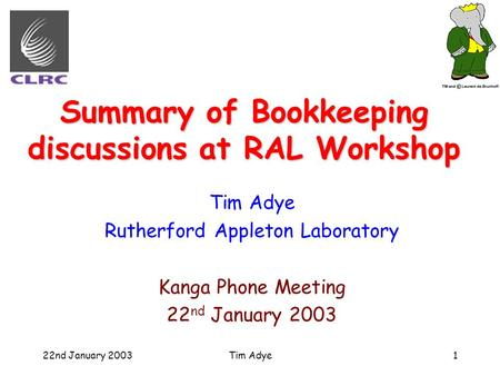 22nd January 2003Tim Adye1 Summary of Bookkeeping discussions at RAL Workshop Tim Adye Rutherford Appleton Laboratory Kanga Phone Meeting 22 nd January.