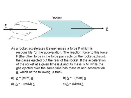 F As a rocket accelerates it experiences a force F which is responsible for the acceleration. The reaction force to this force F (the other force in the.