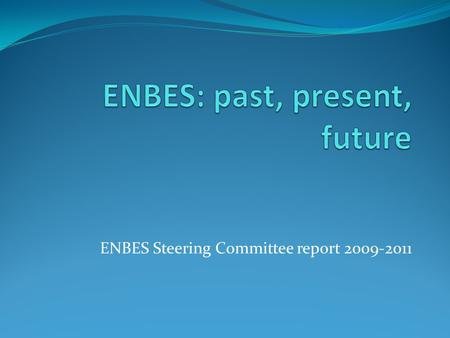 ENBES Steering Committee report 2009-2011. Past Initiated in 2008 i. create network of European researchers and practitioners in establishment statistics.
