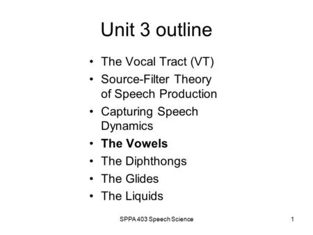 SPPA 403 Speech Science1 Unit 3 outline The Vocal Tract (VT) Source-Filter Theory of Speech Production Capturing Speech Dynamics The Vowels The Diphthongs.