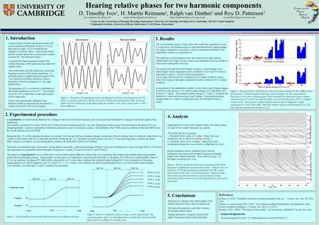 Hearing relative phases for two harmonic components D. Timothy Ives 1, H. Martin Reimann 2, Ralph van Dinther 1 and Roy D. Patterson 1 1. Introduction.