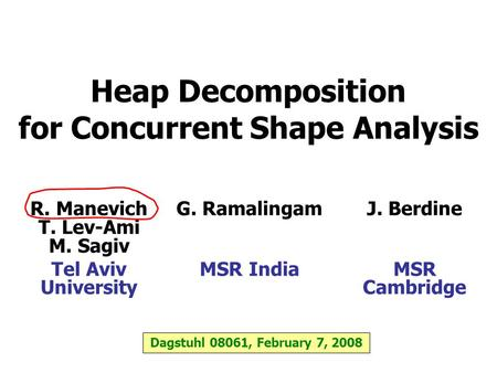 Heap Decomposition for Concurrent Shape Analysis R. Manevich T. Lev-Ami M. Sagiv Tel Aviv University G. Ramalingam MSR India J. Berdine MSR Cambridge Dagstuhl.