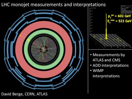LHC monojet measurements and interpretations David Berge, CERN, ATLAS Measurements by ATLAS and CMS ADD interpretations WIMP interpretations.