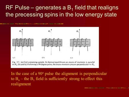 RF Pulse – generates a B 1 field that realigns the precessing spins in the low energy state In the case of a 90 o pulse the alignment is perpendicular.