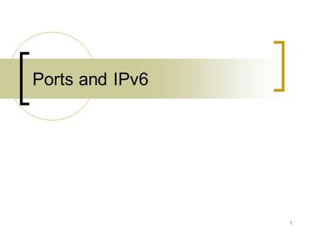 1 Ports and IPv6. 2 Ports Transmission Control Protocol (TCP) or the User Datagram Protocol (UDP), used for communication Generally speaking, a computer.