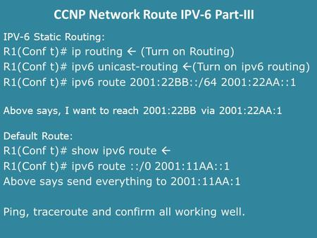 CCNP Network Route IPV-6 Part-III IPV-6 Static Routing: R1(Conf t)# ip routing  (Turn on Routing) R1(Conf t)# ipv6 unicast-routing  (Turn on ipv6 routing)