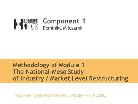 Regoverning Markets Workshop, Warsaw 4-7.04.2006. Component 1 Dominika Milczarek Methodology of Module 1 The National-Meso Study of Industry / Market Level.