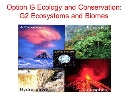 Option G Ecology and Conservation: G2 Ecosystems and Biomes.