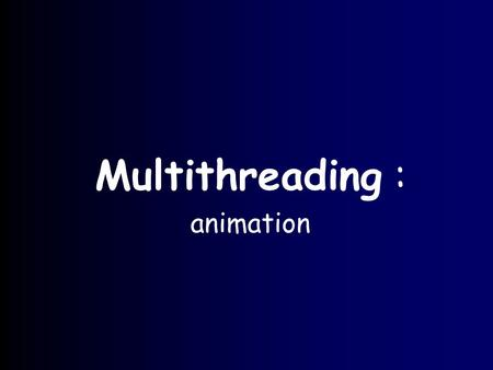 Multithreading : animation. slide 5.2 Animation Animation shows different objects moving or changing as time progresses. Thread programming is useful.