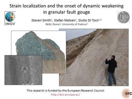 Strain localization and the onset of dynamic weakening in granular fault gouge Steven Smith 1, Stefan Nielsen 1, Giulio Di Toro 1,2 INGV, Rome 1 ; University.