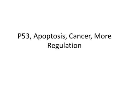 P53, Apoptosis, Cancer, More Regulation G1 checkpoint Controlled by G1 Cdk-cyclin G1 cyclin levels also vary with the cell cycle Many additional levels.