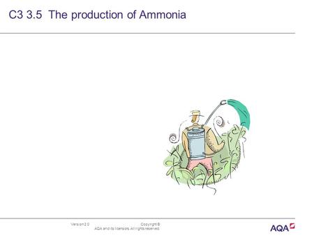 Version 2.0 Copyright © AQA and its licensors. All rights reserved. C3 3.5 The production of Ammonia.