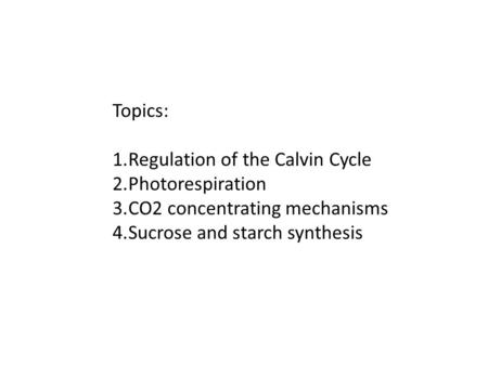 Topics: 1.Regulation of the Calvin Cycle 2.Photorespiration 3.CO2 concentrating mechanisms 4.Sucrose and starch synthesis.