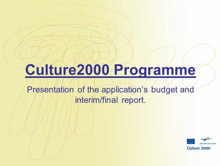 Culture2000 Programme Presentation of the application's budget and interim/final report.