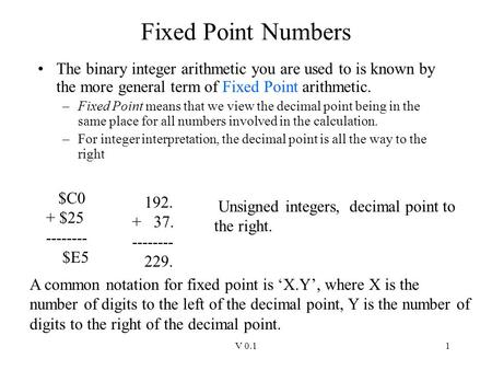 Fixed Point Numbers The binary integer arithmetic you are used to is known by the more general term of Fixed Point arithmetic. Fixed Point means that we.