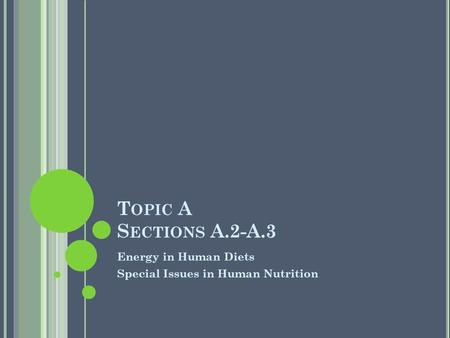 T OPIC A S ECTIONS A.2-A.3 Energy in Human Diets Special Issues in Human Nutrition.