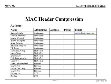 MAC Header Compression