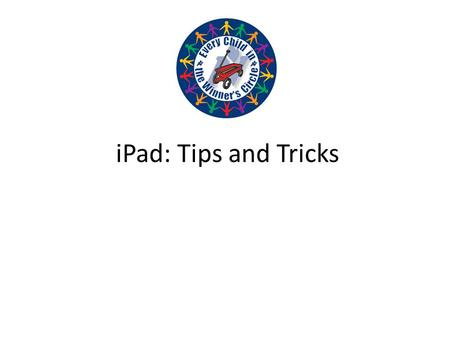 IPad: Tips and Tricks. Overview of the iPad HomeVolume and Mute/Lock CameraDock/Speakers Power Button: Press/Hold.