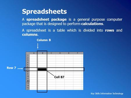 Spreadsheets A spreadsheet package is a general purpose computer package that is designed to perform calculations. A spreadsheet is a table which is divided.
