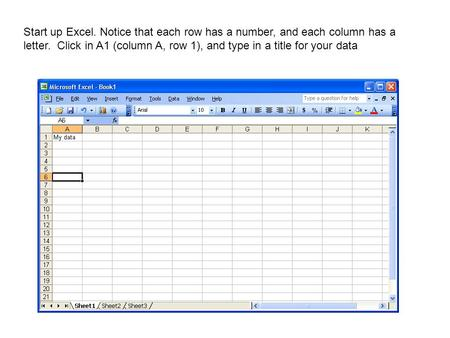 Start up Excel. Notice that each row has a number, and each column has a letter. Click in A1 (column A, row 1), and type in a title for your data.