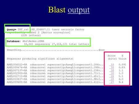 Blast outputoutput. How to measure the similarity between two sequences Q: which one is a better match to the query ? Query: M A T W L Seq_A: M A T P.