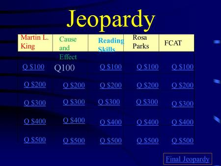 Jeopardy Martin L. King Cause and Effect Reading Skills Rosa Parks FCAT Q $100 Q $200 Q $300 Q $400 Q $500 Q $100 Q $200 Q $300 Q $400 Q $500 Final Jeopardy.