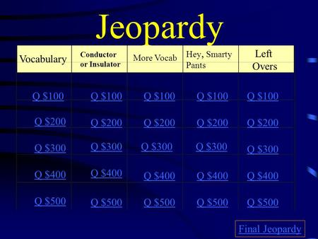 Jeopardy Vocabulary Conductor or Insulator More Vocab Hey, Smarty Pants Left Overs Q $100 Q $200 Q $300 Q $400 Q $500 Q $100 Q $200 Q $300 Q $400 Q $500.