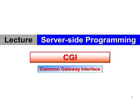1 CGICGI Common Gateway Interface Server-side Programming Lecture.