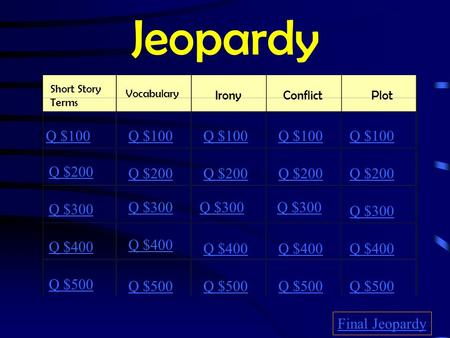 Jeopardy Short Story Terms Vocabulary IronyConflictPlot Q $100 Q $200 Q $300 Q $400 Q $500 Q $100 Q $200 Q $300 Q $400 Q $500 Final Jeopardy.