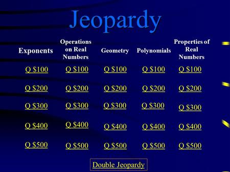 Jeopardy Exponents Operations on Real Numbers Geometry Polynomials Properties of Real Numbers Q $100 Q $200 Q $300 Q $400 Q $500 Q $100 Q $200 Q $300.