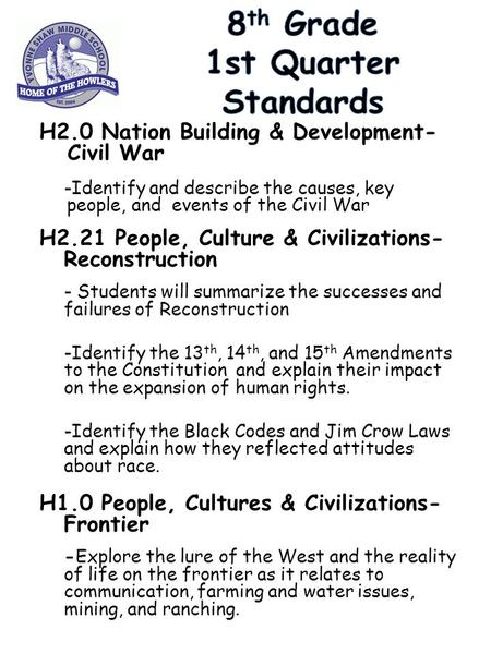 H2.0 Nation Building & Development- Civil War -Identify and describe the causes, key people, and events of the Civil War H2.21 People, Culture & Civilizations-