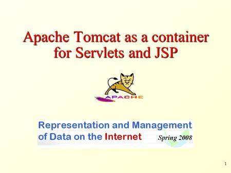Apache Tomcat as a container for Servlets and JSP