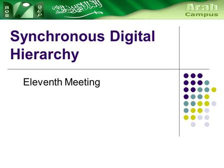 Synchronous Digital Hierarchy Eleventh Meeting. History of Multiplexing Synchronous digital hierarchy (SDH) is a world- wide standard for digital communication.