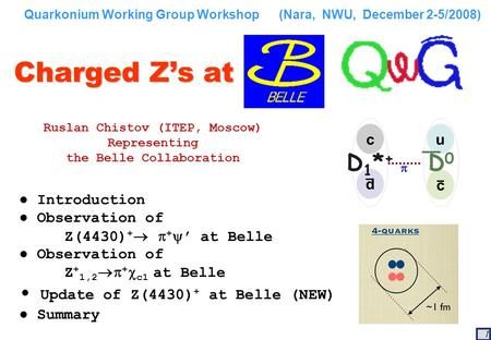 1 Charged Z's at Ruslan Chistov (ITEP, Moscow) Representing the Belle Collaboration Quarkonium Working Group Workshop (Nara, NWU, December 2-5/2008) ●