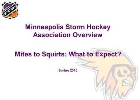Minneapolis Storm Hockey Association Overview Mites to Squirts; What to Expect? Spring 2015.