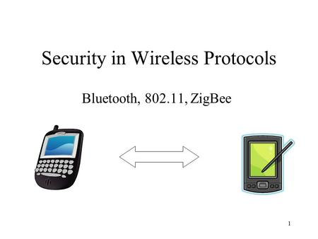 1 Security in Wireless Protocols Bluetooth, 802.11, ZigBee.