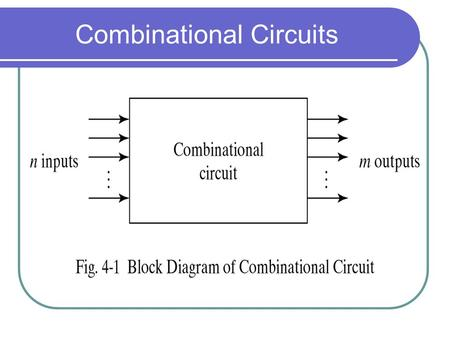 Combinational Circuits. Analysis Diagram Designing Combinational Circuits In general we have to do following steps: 1. Problem description 2. Input/output.