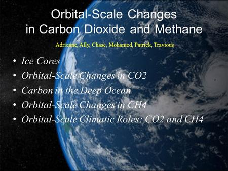 Orbital-Scale Changes in Carbon Dioxide and Methane