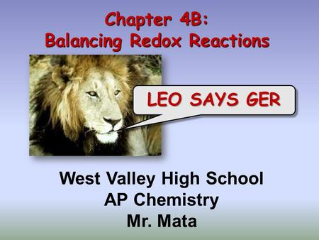 Chapter 4B: Balancing Redox Reactions