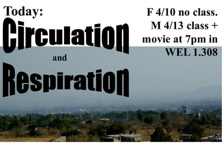 Today: and F 4/10 no class. M 4/13 class + movie at 7pm in WEL 1.308.