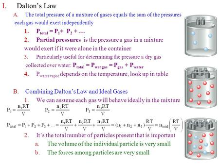 I.Dalton's Law A.The total pressure of a mixture of gases equals the sum of the pressures each gas would exert independently 1.P total = P 1 + P 2 + …