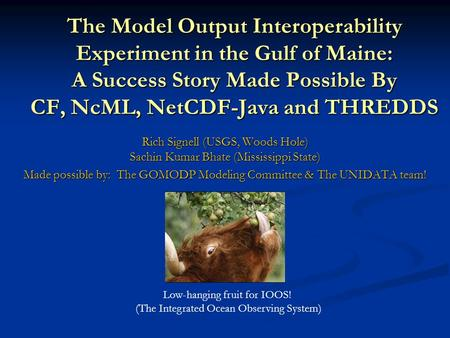 The Model Output Interoperability Experiment in the Gulf of Maine: A Success Story Made Possible By CF, NcML, NetCDF-Java and THREDDS Rich Signell (USGS,