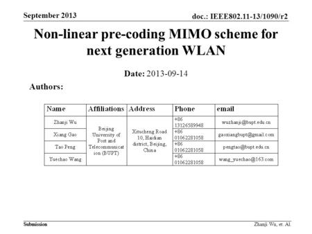 Doc.: IEEE802.11-13/1090/r2 Submission September 2013 Submission Zhanji Wu, et. Al. Non-linear pre-coding MIMO scheme for next generation WLAN Date: 2013-09-14.